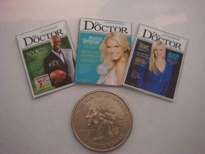 3  Miniature  OPENING    'DOCTOR'  MAGAZINES  - Dollhouse  1:12 scale