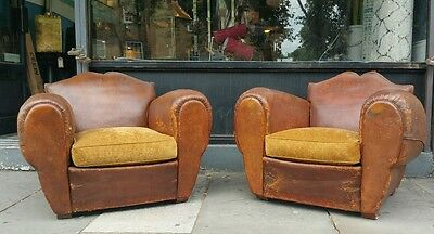 Pair Antique French Leather Moustache Back Art Deco Club Chair, Vintage