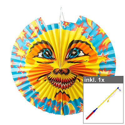 "Set Laterne ""Sonne groß"" inkl. 50 cm LED Laternenstab Lampion Garten Kinder"