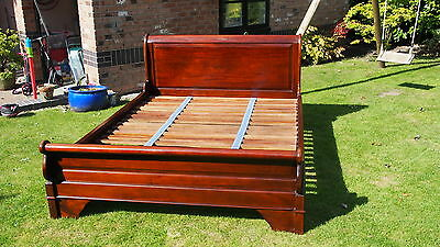 Mahogany King Size Sleigh Bed with Slats.