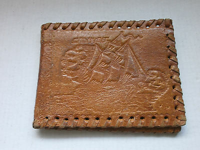 Antique Vintage Leather  Mens Purse, Wallet with Ship Sailing - Handmade
