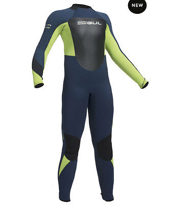 2016/17 Gul Response Back Zip Kids 5 X 3 Steamer Wetsuit Navy Lime