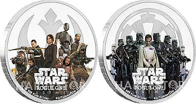 2017 Star Wars Rogue One - 2-Coin Set - Empire & Rebel Alliance - All Ogp & Coa