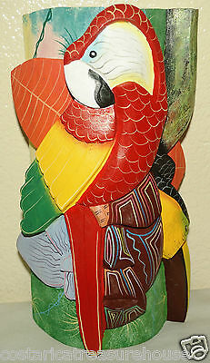 Costa Rica Hand Carved Wooden Tribal Boruca Mask Chief, Macaw & Toucan NICE~!~!