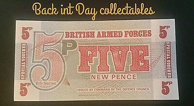 1972 British Armed Forces 6th Series 5p UNC five pence Banknote/Voucher