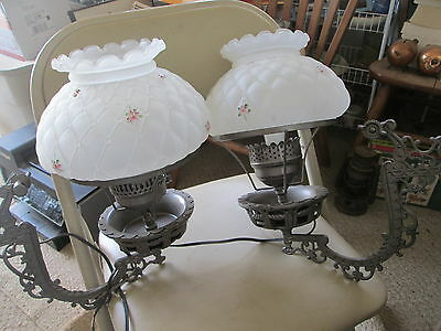 2 Vintage Cast Iron Wall ElectrifiedLamps w/Gone with the wind type glass globes