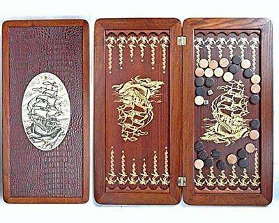 "Large Size Handmade Solid Wooden Backgammon Set Board Game ""Frigate"""