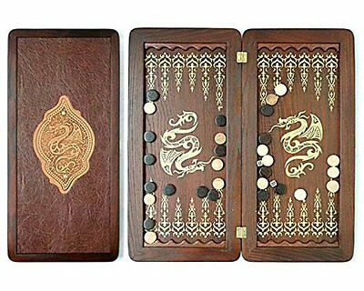 "Large Size Handmade Solid Wooden Backgammon Set Board Game ""Golden Dragon"""