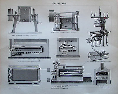 1888 BROTFABRIKATION Original alter Druck Antique Print Lithographie