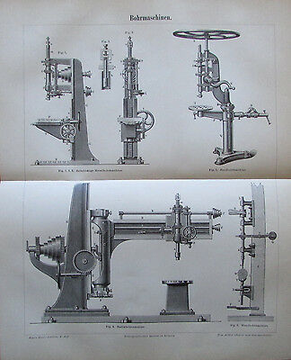 1888 BOHRMASCHINEN Original alter Druck Antique Print Lithographie