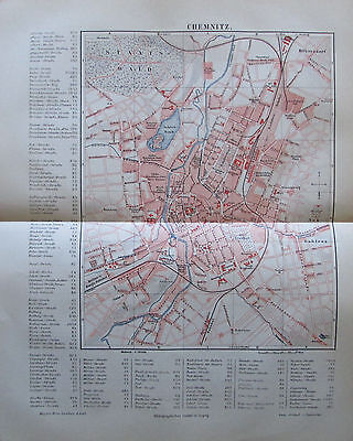 1888 CHEMNITZ DEUTSCHLAND alter Stadtplan antique city map Lithographie