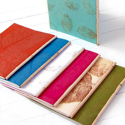 Leaf craft paper handmade stationery Xmas gifts 7x8 notes recipe book cane spine
