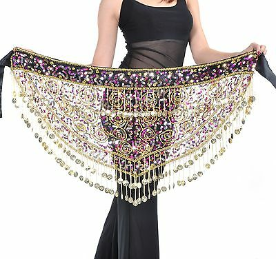 New Belly Dance Gold Coins Costume Hip Scarf Tribal Egyptian Coin Belt Skirt