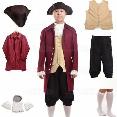 Vintage Men Rococo Cosplay Suits Colonial Revolution Costume Uniform Outfit