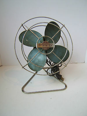 Vintage Working Small Metal Fan Dominion Electrohome Art Deco