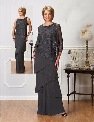 Mother of the Bride Dress 2016 Lace Chiffon Formal Gowns Jacket Plus Size