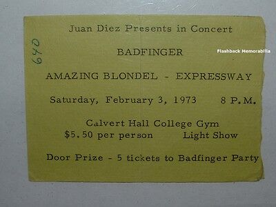BADFINGER 1973 Concert Ticket Stub BALTIMORE Amazing Blondel MEGA RARE The Iveys