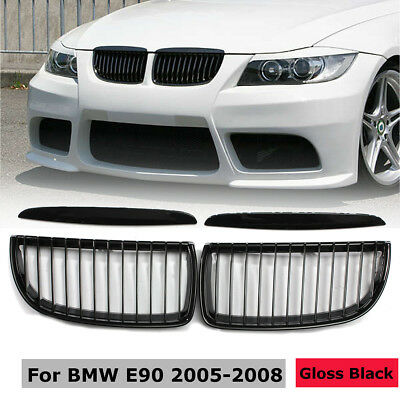 Pair Front Kidney Grille Grill Gloss For BMW E90 3-Series Sedan Wagon 2005-2008