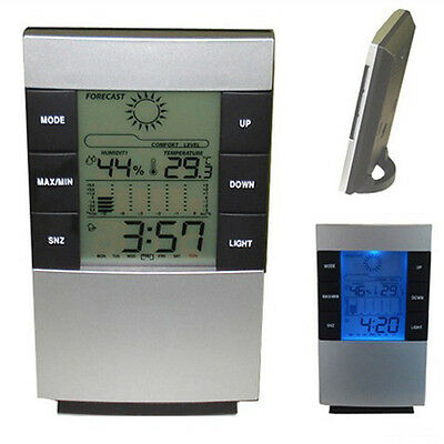 New Digital LED LCD Backlight Snooze Alarm Clock Calendar Thermometer Hygrometer