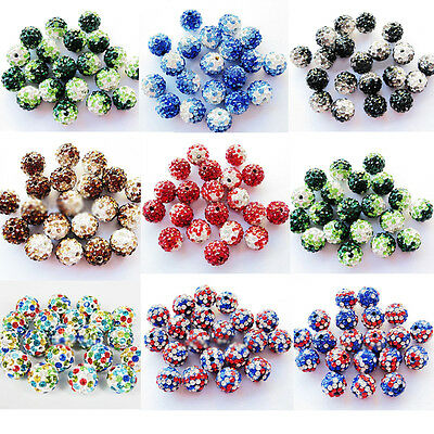 10Pcs Czech Crystal Rhinestone Pave Clay Round Disco Ball Loose Spacer Bead 10MM