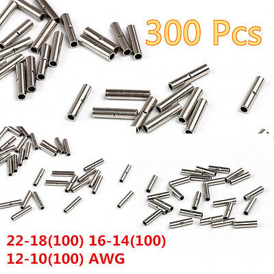 300 Pcs Copper 22-18/16-14/16-14 AWG Automobile Wire Butt Connector Terminal Kit