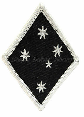 Embroidered Iron Or Sew On Cloth Biker Patch ~ Southern Cross Diamond (White) ~