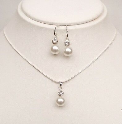Sterling Silver Pearl And Diamante Bridal Jewellery Set Necklace And Earrings