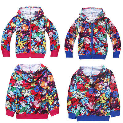 Pokemon Go Kids Boys Girls Long Sleeve Hoodies Casual Zipper Tops Clothes 4-11Y
