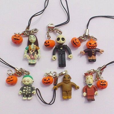 6pc Nightmare Before Christmas Mini Pumpkin Jack Sally Barrel Figure Strap  Hot