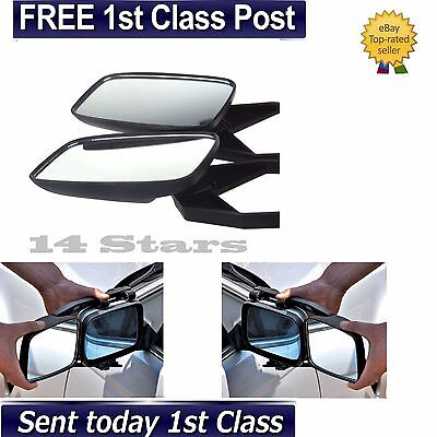 2 x Universal Caravan Car Auto Extension Convex Side Mirror Blindspot Glass Wing