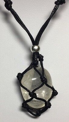 Black macrame necklace gemstone pouch with Clear Quartz tumble stone