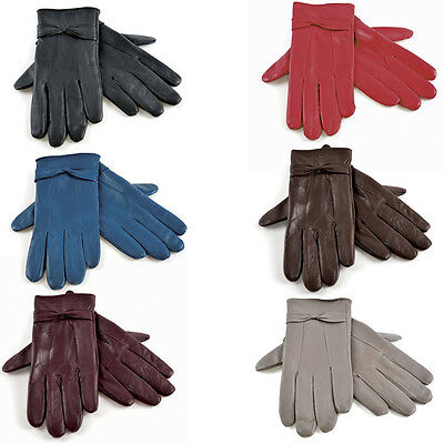 Ladies Women Soft Sheepskin Real 100% Leather Gloves with lining Driving Winter