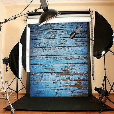 5 x 7FT Blue Wooden Wall Photography Background Studio Photo Backdrop Canvas Pro