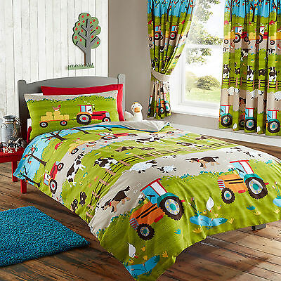 Farm Yard Novelty Childrens Duvet Cover Pillowcases Set Tractor, Cow, Pig, Sheep