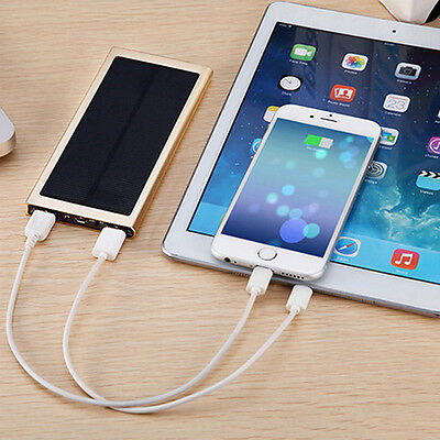 50000mAh Power Bank Portable 2 USB Solar Battery Charger For Mobile Phones iPad