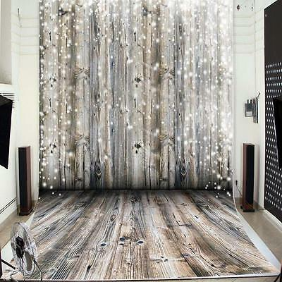 Large Dreamy Wooden Wall Floor Photography Backdrop Background Studio Tool New