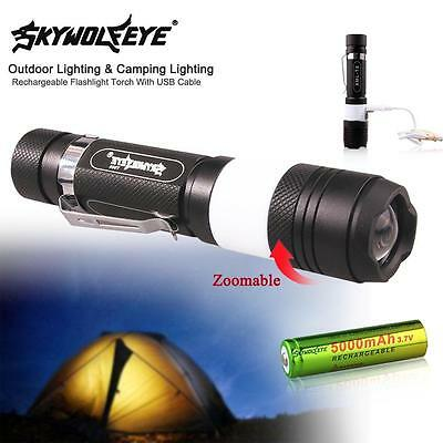 1x 3800 Lm CREE T6 LED rechargeable lampe torche Camping USB + 18650 Batterie AF