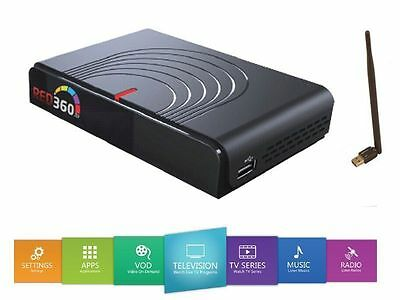 Red 360 Mega HEVC IPTV Box With WLAN ,12 Months incl. Turkish, Kurdish, Arabic