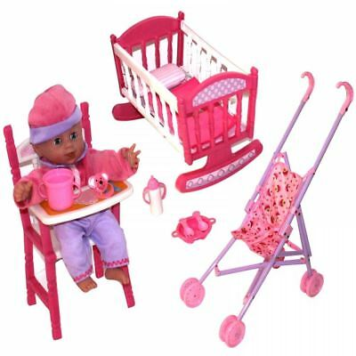 GIRLS 3in1 BABY DOLL PRETEND ROLE PLAY CRADLE COT BED CRIB HIGH CHAIR PRAM SET