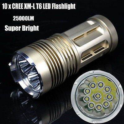 28000LM Super Bright 10x  XM-L T6 LED Flashlight Torch 4x 18650 Hunting Lamp