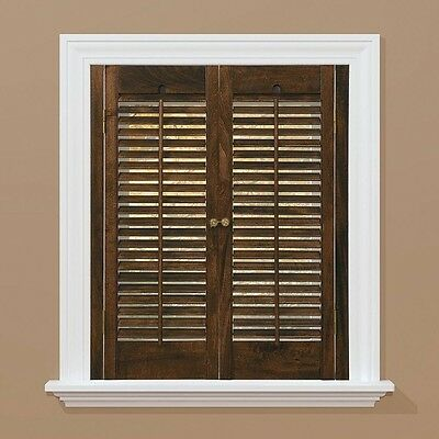 Traditional Real Wood Walnut Interior Shutter  window 23 in. - 25 in. W x 28 in.