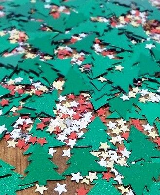 Christmas Party Table Confetti Decoration ~  ChristmasTrees and Stars