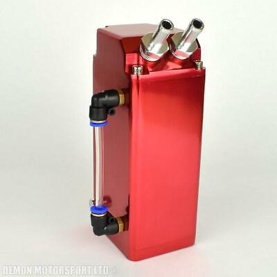 Universal 0.6 Ltr Oil Catch Tank (Red) Blow By Breather Can (with sump drain)