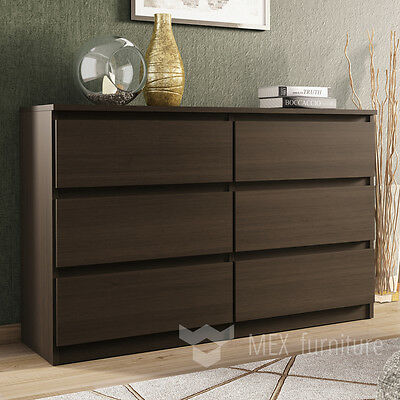 Modern Wenge Chest of Drawers - 6 Drawers Bedroom Furniture Cabinet   Sideboard