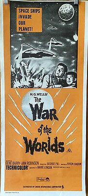 """Original Vintage """"THE WAR OF THE WORLDS"""" Day Bill Movie Poster !"""