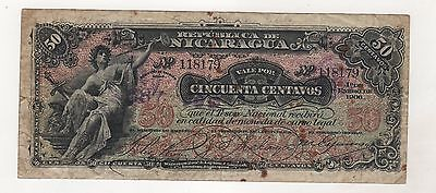 Nicaragua 50 Centavos 01-01-1906  Pick 34 Fine Circulated Banknote
