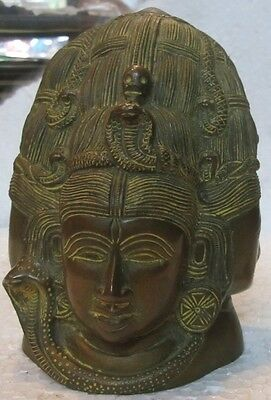 An old look solid brass SHIVA & PARVATI head hindu traditional statue