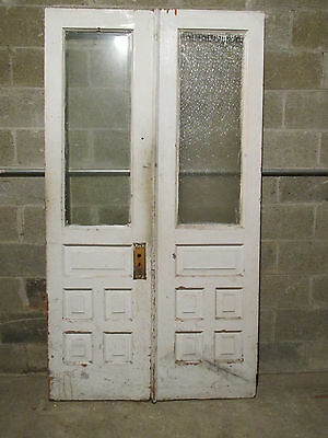 ~ ANTIQUE DOUBLE ENTRANCE FRENCH DOORS 44 x 79.25 ~ARCHITECTURAL SALVAGE