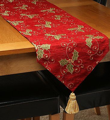 Luxury Chenille Red and Gold Christmas Holly Table Runner with Tassel, 2 Sizes