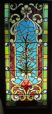 Great Antique American Stained Glass Floral Window 60X28 Architectural Salvage